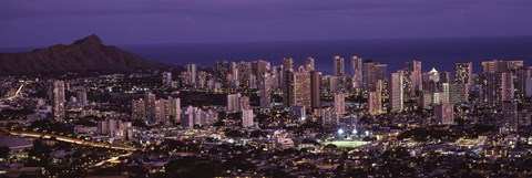 Framed High angle view of a city lit up at dusk, Honolulu, Oahu, Honolulu County, Hawaii Print