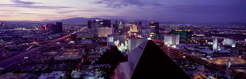 Framed City lit up at dusk, Las Vegas, Clark County, Nevada, USA Print