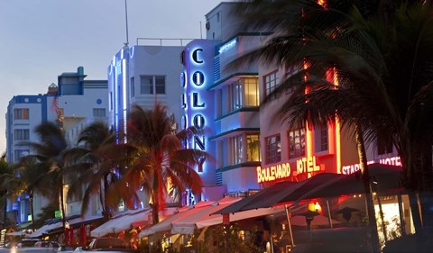Framed Hotels lit up at dusk in a city, Miami, Miami-Dade County, Florida, USA Print