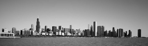 Framed Skyscrapers at the waterfront, Willis Tower, Chicago, Cook County, Illinois, USA Print