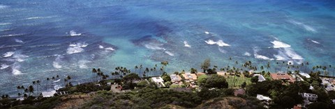 Framed Aerial view of the pacific ocean, Ocean Villas, Honolulu, Oahu, Hawaii, USA Print