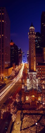 Framed Buildings lit up at night, Water Tower, Magnificent Mile, Michigan Avenue, Chicago, Cook County, Illinois, USA Print