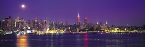 Framed New York Ciry Skyline At Night, Purple Sky Print