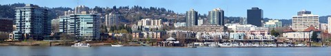Framed Buildings at the waterfront, Portland, Multnomah County, Oregon, USA 2011 Print