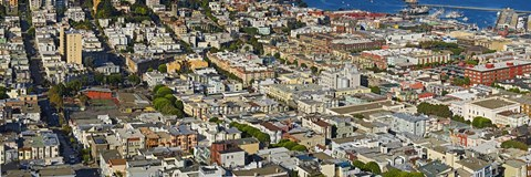 Framed Aerial view of buildings in a city, Columbus Avenue and Fisherman's Wharf, San Francisco, California, USA Print
