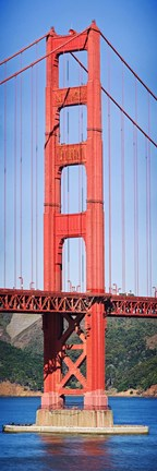 Framed Suspension bridge tower, Golden Gate Bridge, San Francisco Bay, San Francisco, California, USA Print