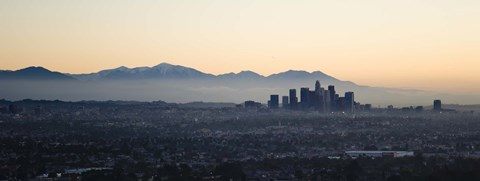 Framed Hazy Sky over Los Angeles, Panoramic View Print