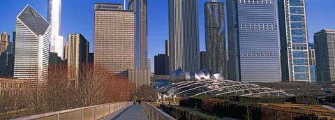 Framed Millennium Park with buildings in the background, Chicago, Cook County, Illinois, USA Print