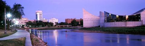 Framed Buildings at the waterfront, Arkansas River, Wichita, Kansas, USA Print