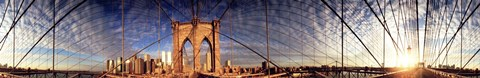 Framed Details of the Brooklyn Bridge, New York City, New York State, USA Print