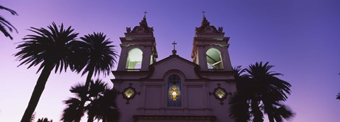 Framed Low angle view of a cathedral at night, Portuguese Cathedral, San Jose, Silicon Valley, Santa Clara County, California, USA Print