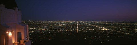 Framed View of a city at night, Griffith Park Observatory, Griffith Park, City Of Los Angeles, Los Angeles County, California, USA Print