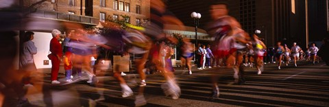 Framed Blurred Motion Of Marathon Runners, Houston, Texas, USA Print