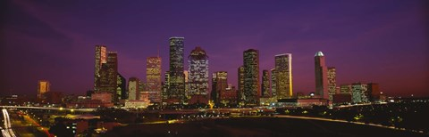 Framed Buildings lit up at night, Houston, Texas, USA Print