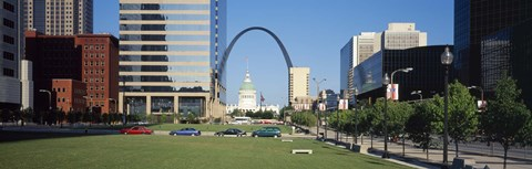 Framed Buildings in a city, Gateway Arch, Old Courthouse, St. Louis, Missouri, USA Print