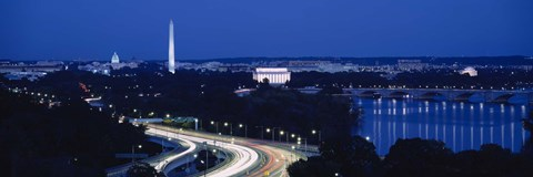 Framed Traffic on the road, Washington Monument, Washington DC, USA Print