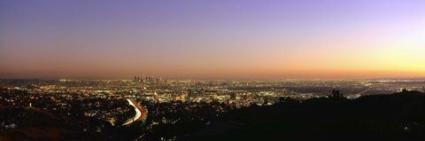 Framed Aerial view of buildings in a city at dusk from Hollywood Hills, Hollywood, City of Los Angeles, California, USA Print