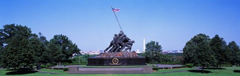 Framed War memorial with Washington Monument in the background, Iwo Jima Memorial, Arlington, Virginia, USA Print