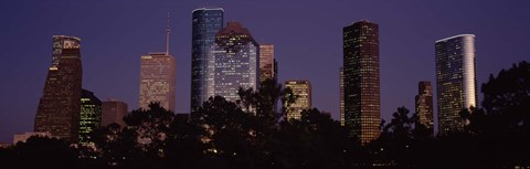 Framed Buildings in a city lit up at dusk, Houston, Harris county, Texas, USA Print