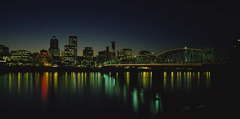 Framed Buildings lit up at night, Willamette River, Portland, Oregon, USA Print