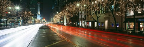 Framed Blurred Motion Of Cars Along Michigan Avenue Illuminated With Christmas Lights, Chicago, Illinois, USA Print