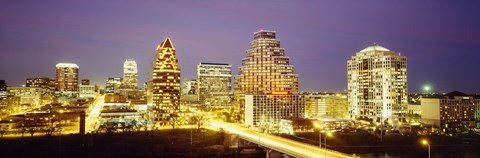 Framed Buildings lit up at dusk, Austin, Texas, USA Print