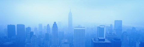 Framed Foggy View of the New York Skyline in all Blue Print
