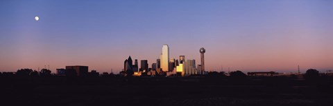 Framed Sunset Skyline Dallas TX USA Print