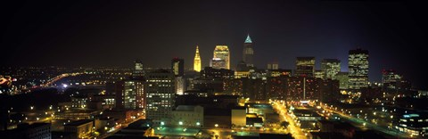 Framed Aerial view of a city lit up at night, Cleveland, Ohio, USA Print