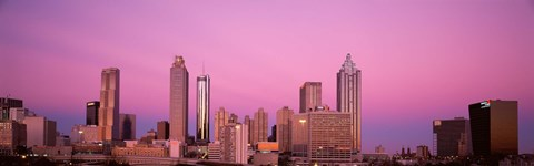Framed USA, Georgia, Atlanta, Panoramic view of the city at dawn Print