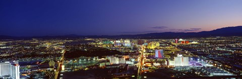 Framed Cityscape at night, The Strip, Las Vegas, Nevada, USA Print