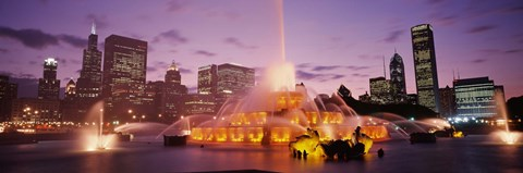 Framed Fountain lit up at dusk in a city, Chicago, Cook County, Illinois, USA Print
