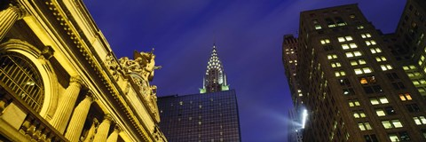 Framed Night, Chrysler Building, Grand Central Station, NYC, New York City, New York State, USA Print