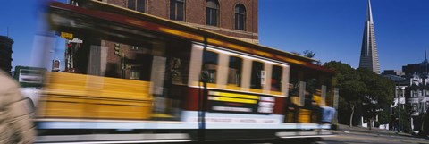 Framed Cable car moving on a street, San Francisco, California, USA Print