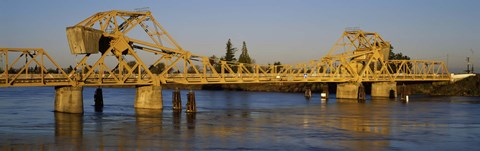 Framed Drawbridge across a river, The Sacramento-San Joaquin River Delta, California, USA Print