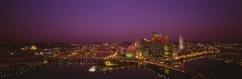 Framed High angle view of buildings lit up at night, Three Rivers Stadium, Pittsburgh, Pennsylvania, USA Print
