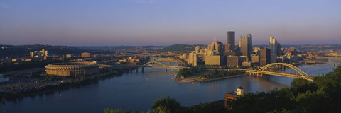 Framed High angle view of a city, Three Rivers Stadium, Pittsburgh, Pennsylvania, USA Print