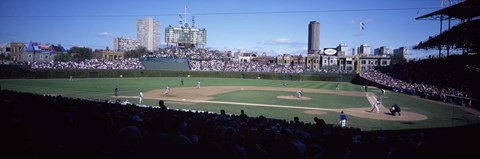 Framed Baseball match in progress, Wrigley Field, Chicago, Cook County, Illinois, USA Print
