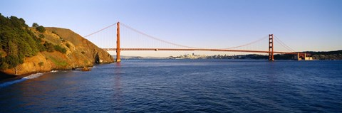 Framed Suspension bridge across the sea, Golden Gate Bridge, San Francisco, California, USA Print