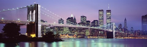 Framed Bridge at dusk, Brooklyn Bridge, East River, World Trade Center, Wall Street, Manhattan, New York City, New York State, USA Print