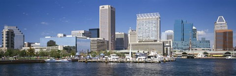 Framed Buildings at the waterfront, Baltimore, Maryland, USA Print
