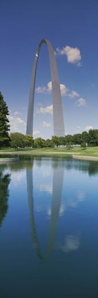 Framed Reflection of an arch structure in a river, Gateway Arch, St. Louis, Missouri, USA Print