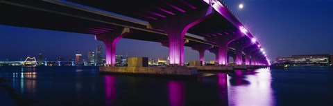 Framed Bridge lit up across a bay, Macarthur Causeway, Biscayne Bay, Miami, Florida, USA Print