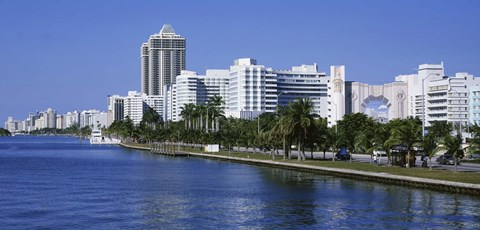 Framed USA, Florida, Miami, Miami Beach, Panoramic view of waterfront and skyline Print