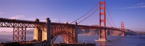 Framed Suspension bridge at dusk, Golden Gate Bridge, San Francisco, Marin County, California, USA Print