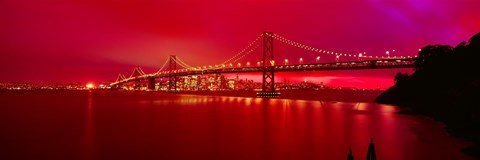 Framed Suspension bridge lit up at night, Bay Bridge, San Francisco, California, USA Print