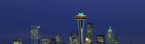 Framed Buildings in a city lit up at night, Space Needle, Seattle, King County, Washington State, USA Print