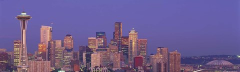 Framed USA, Washington, Seattle, cityscape at twilight Print