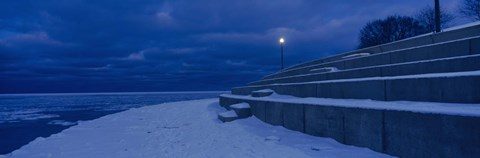 Framed Snow on steps at the lakeside, Lake Michigan, Chicago, Cook County, Illinois, USA Print