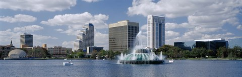 Framed Buildings at the waterfront, Lake Eola, Orlando, Florida, USA Print